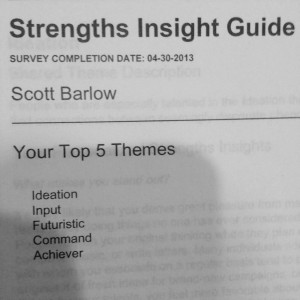 Strengths Finder results